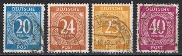 Alliierte Besetzung  Mi 924, 925, 927 und 929  gestempelt