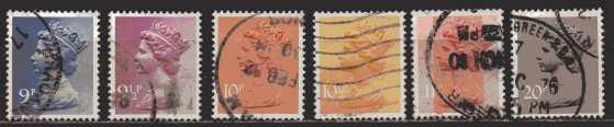 Großbritannien  MiNr. 696 bis 701  gestempelt