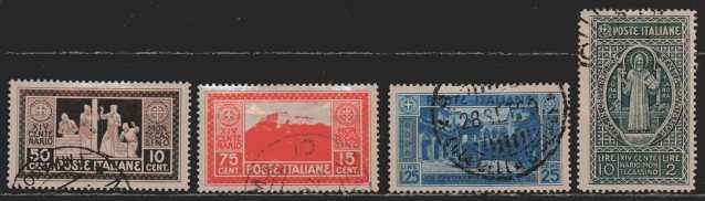 Italien  MiNr. 320 bis 322 und 324  gestempelt