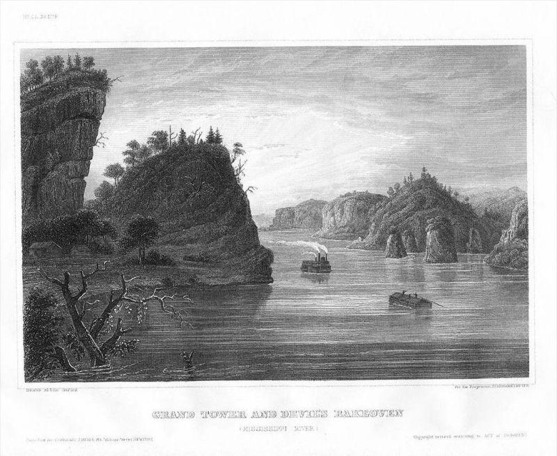 Grand Tower Devil's Bake Oven Mississippi Illinois Original Stahlstich