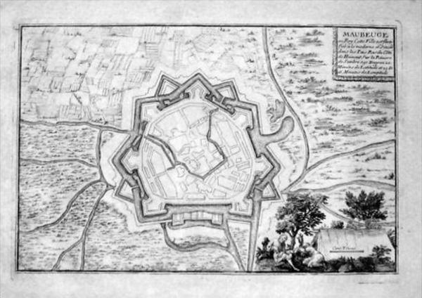 Maubeuge Nord-Pas-de-Calais Gravure Kupferstich engraving map Karte carte