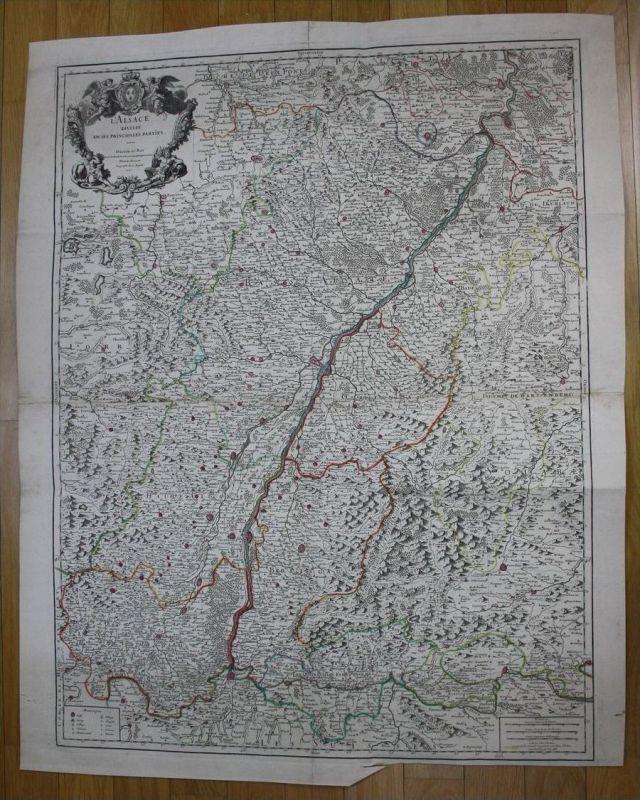 Elsass Alsace carte map Karte Jaillot gravure engraving Kupferstich wall