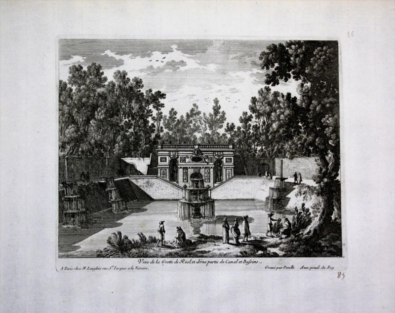Chateau de Meudon Grotte de Ruel jardin Perelle gravure engraving