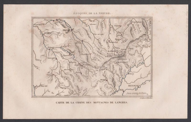 Langres Berge Haute-Marne Champagne-Ardenne Karte map Stahlstich engraving