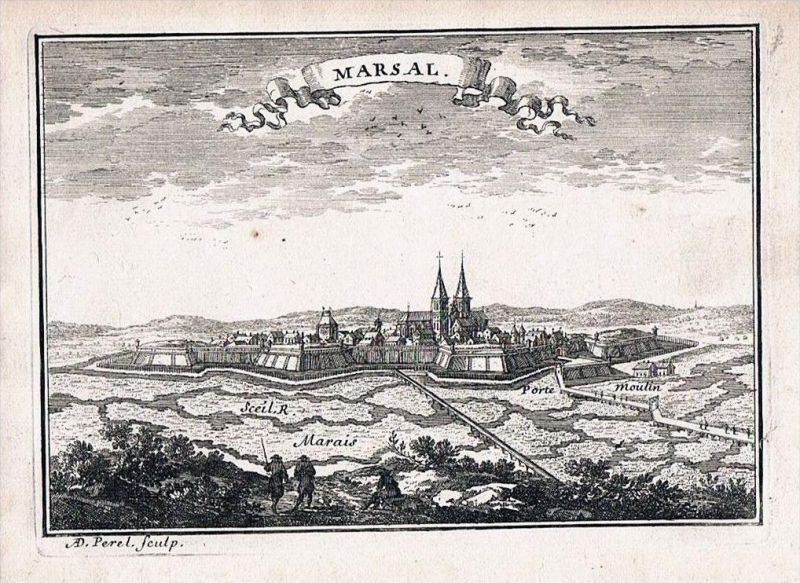 Marsal Moselle Lorraine France gravure Original Kupferstich Beaulieu