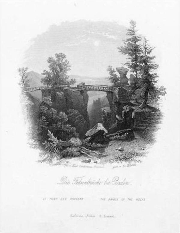 Baden-Baden Felsenbrücke Württemberg Stahlstich