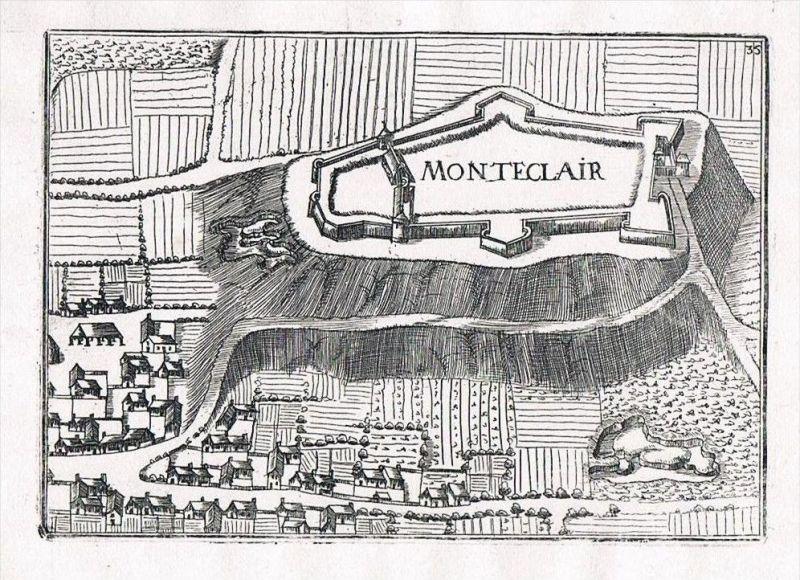 Monteclair Champagne-Ardenne France view gravure Kupferstich Tassin