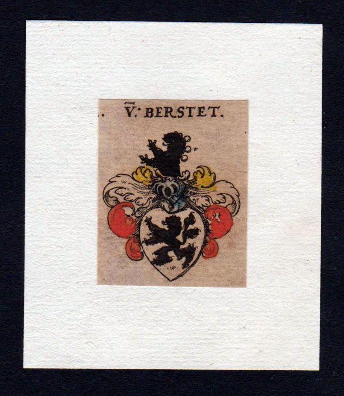 Berstet 17. Jh Wappen coat of arms heraldry Heraldik Kupferstich