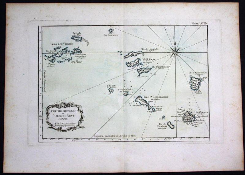 Virgin Islands Lesser Antilles Anguilla Antigua Barbuda Bellin antique map