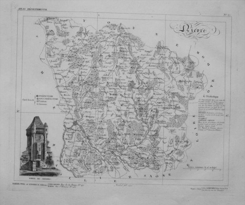 Departement Nievre carte gravure Kupferstich Karte map France Frankreich