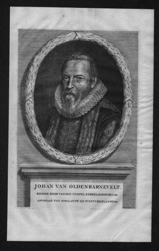 Johan van Oldenbarnevelt Holland Niederlande Portrait Kupferstich