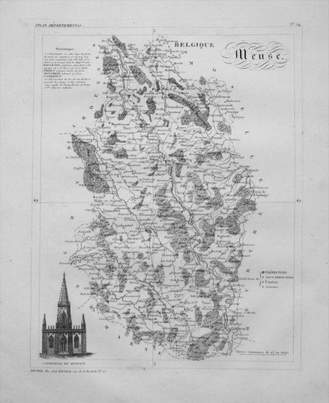 Departement Meuse carte gravure Kupferstich Karte map France Frankreich