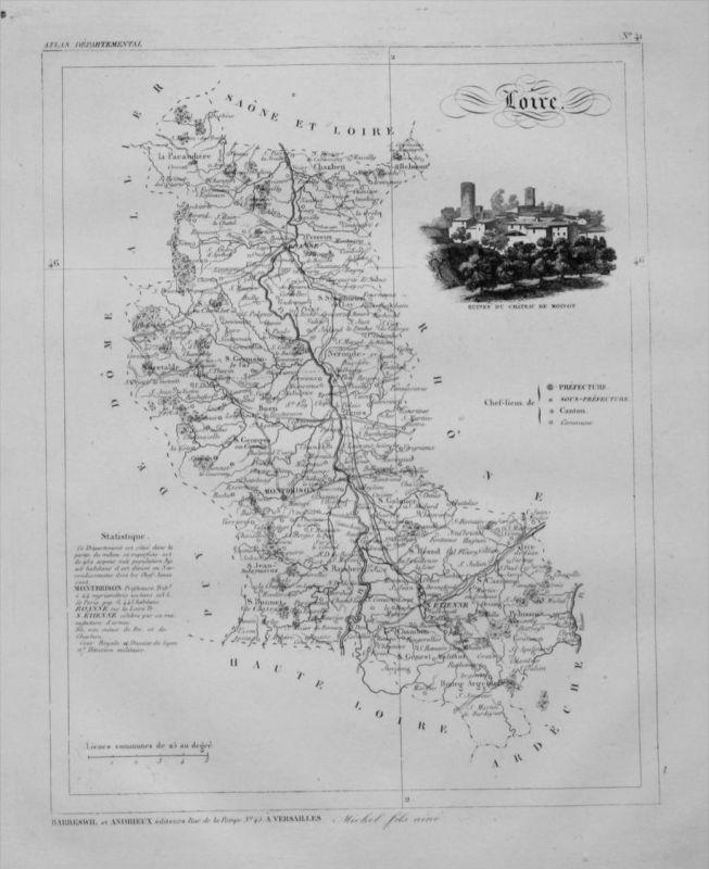 Departement Loire carte gravure Kupferstich Karte map France Frankreich