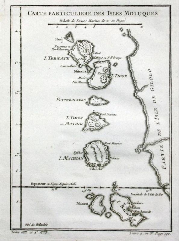- Molukken Maluku islands Indonesia Karte map Kupferstich Bellin