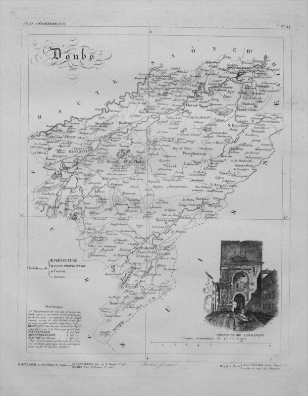 Departement Doubs carte gravure Kupferstich Karte map France Frankreich