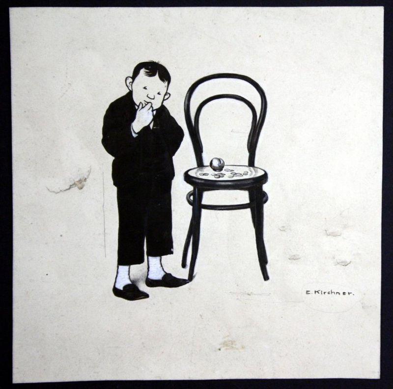 Eugen Kirchner München Original Zeichung signiert Junge Geld Stuhl
