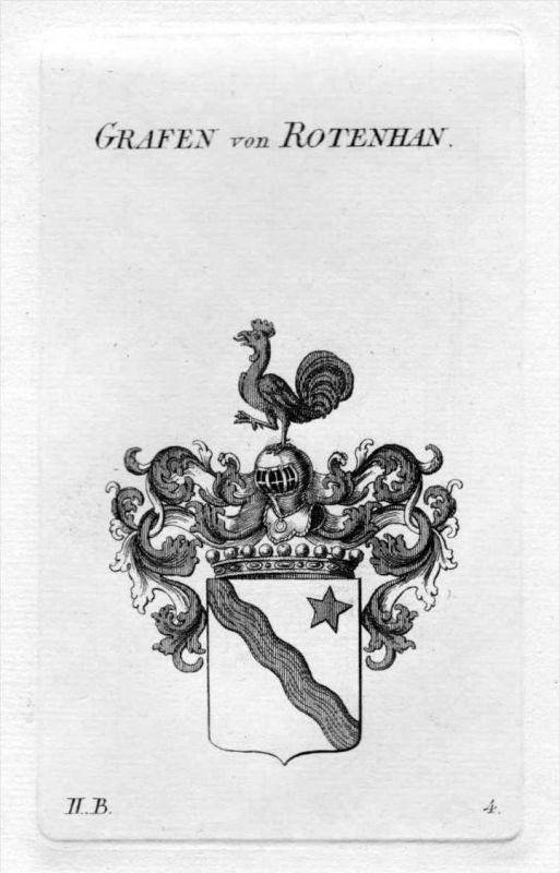 Rotenhan Rothenhan Wappen Adel coat of arms heraldry Heraldik Kupferstich