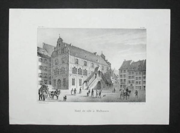 Mühlhausen Mulhouse Elsass Alsace Lithographie