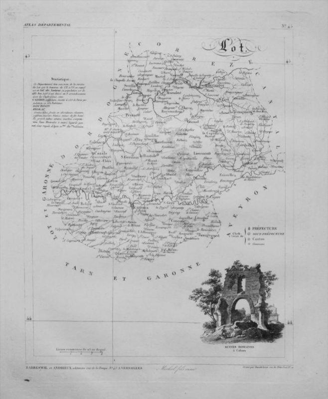 Departement Lot carte gravure Kupferstich Karte map France Frankreich