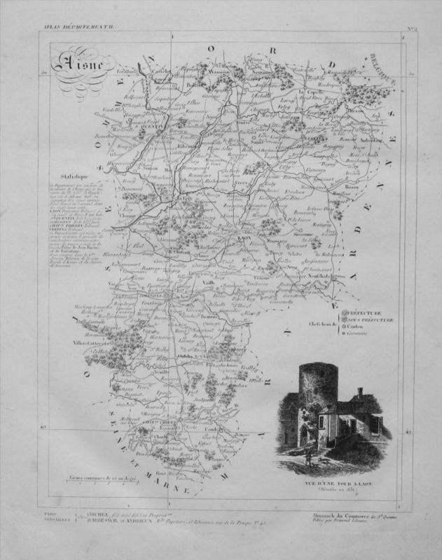 Departement Aisne carte gravure Kupferstich Karte map France Frankreich