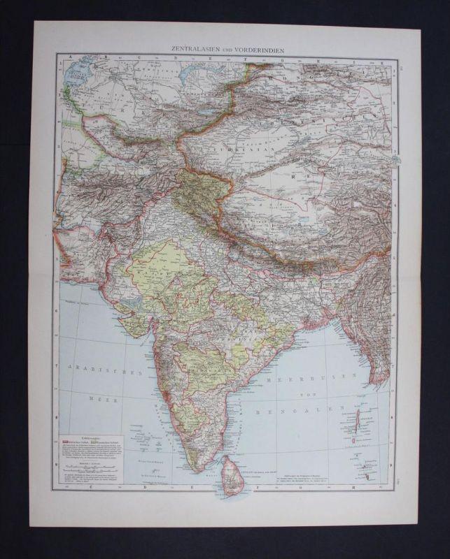 Indien India Neu-Delhi Madras Lahore Asien Asia Karte map Lithographie