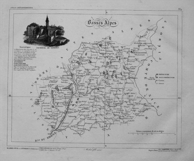 Departement Basses Alpes carte gravure Kupferstich Karte map France