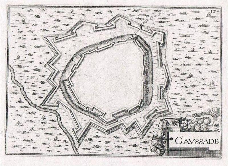 Caussade Tarn-et-Garonne gravure plan Original Kupferstich Tassin