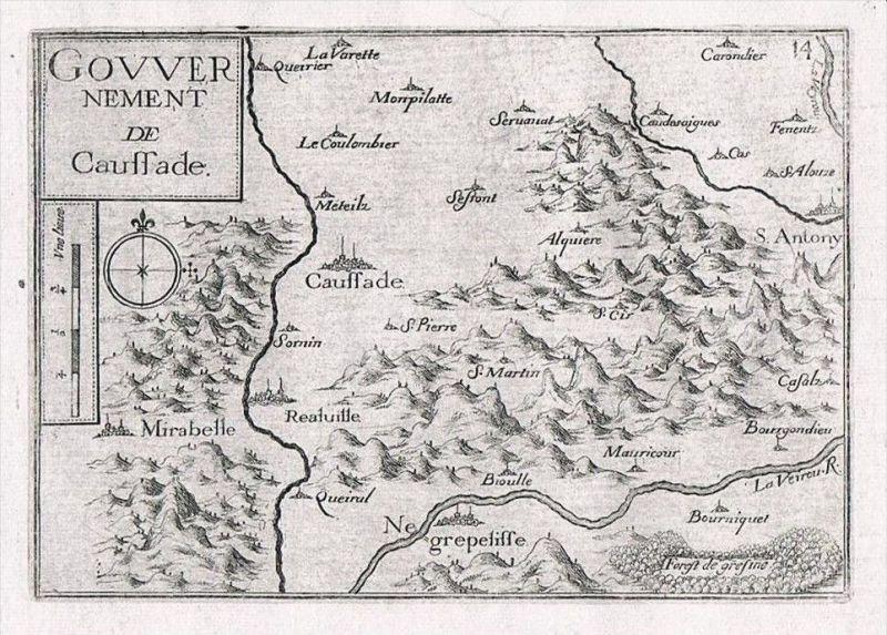 Caussade Tarn-et-Garonne carte gravure Original Kupferstich Tassin
