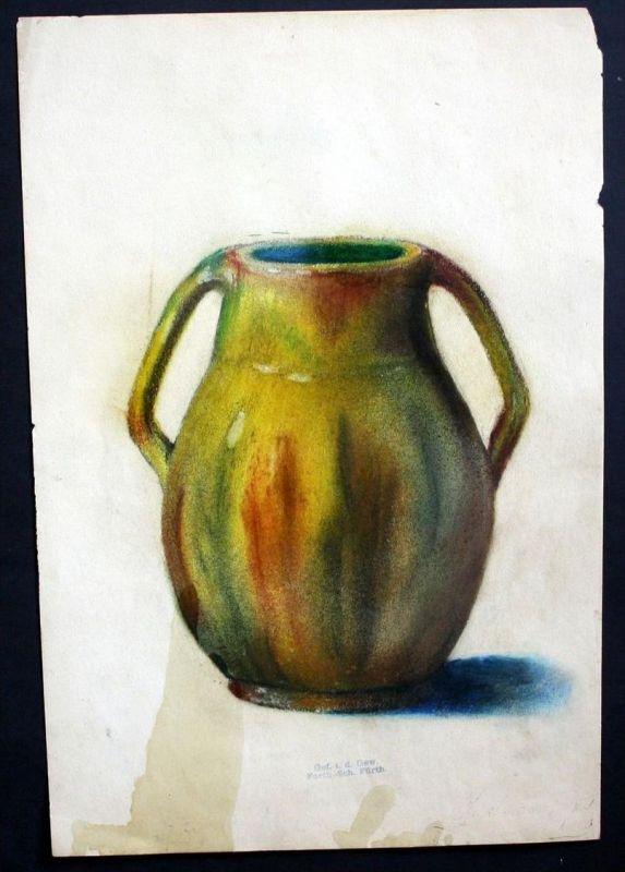 Jugendstil Zeichnung Vase Blumenvase Fürth Keramik