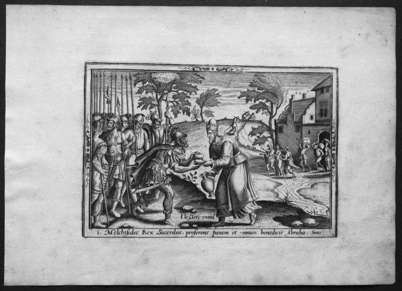 Jean Le Clerc 4 Kupferstiche Folge etching bible Genesis Bibel Abraham