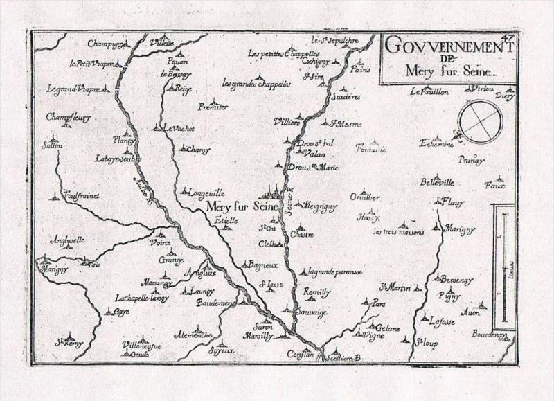 Mery-sur-Seine Aube Champagne-Ardenne France gravure Kupferstich Tassin
