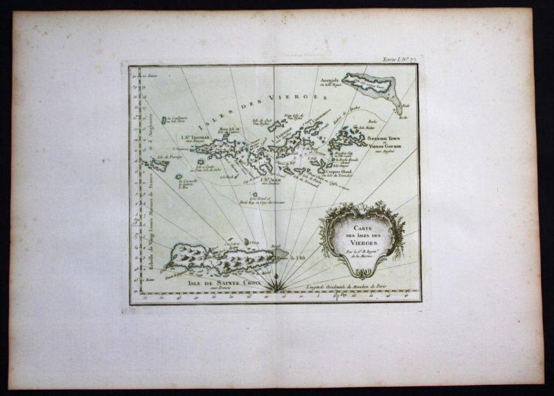 Virgin Islands Leeward Lesser Antilles Bellin handcolored antique map