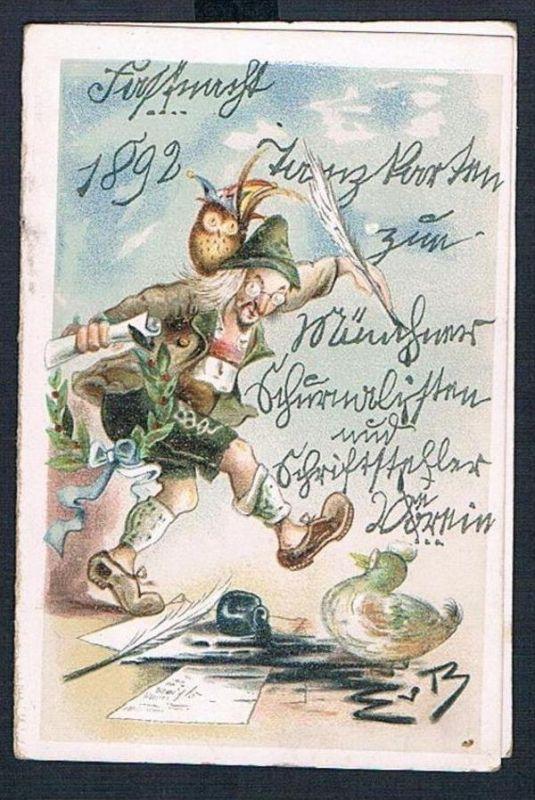 Eugen von Baumgarten München Karikatur Lithographie Fasching Verein Karneval