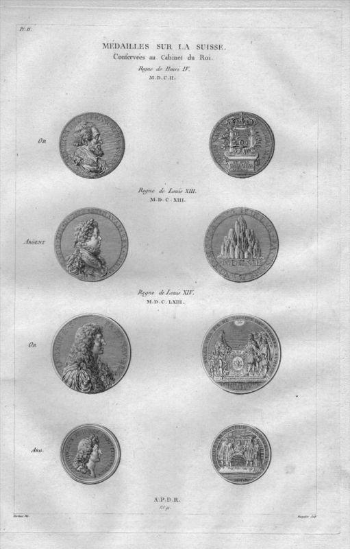 Henri IV Louis XIV Medaillen Münzen Numismatik Schweiz Kupferstich