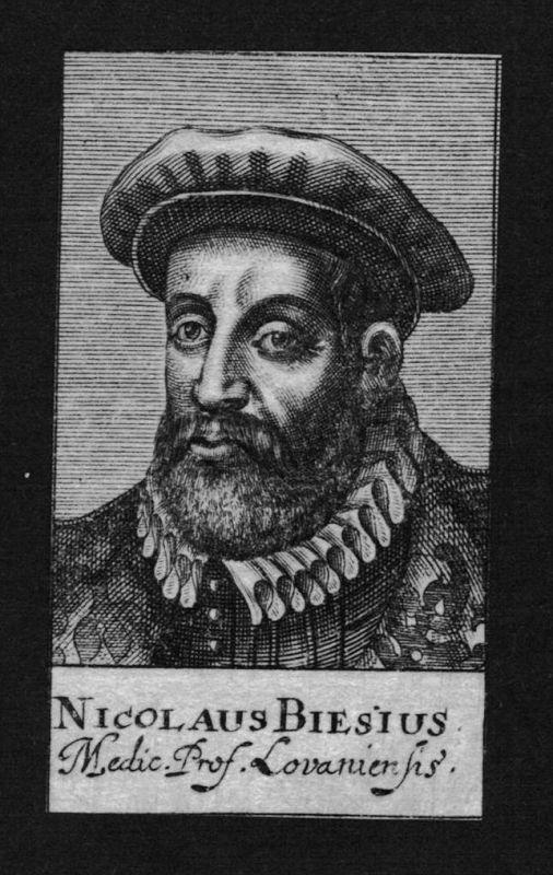 Nicolas Biese Arzt doctor Professor Löwen Belgien Kupferstich Portrait