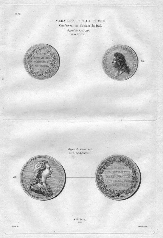 Louis XIV XVI Medaillen Münzen Numismatik Schweiz Original Kupferstich