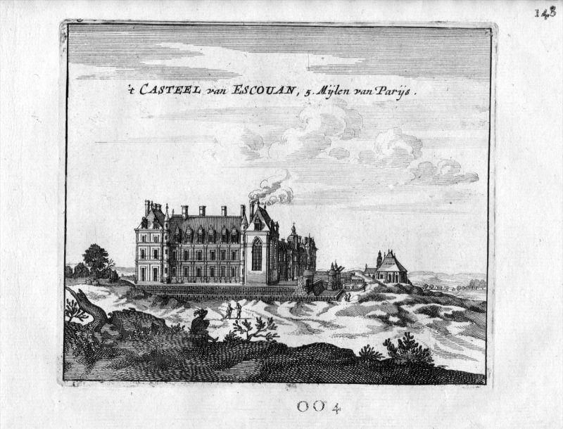 Schloss Chateau Ecouen Val-d?Oise Paris Frankreich France gravure estampe Kupferstich
