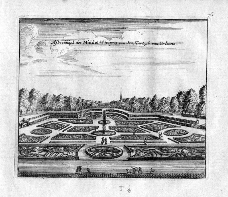 Chateau Herzog Orleans Garten jardin Paris Frankreich France gravure estampe Kupferstich