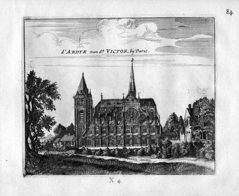 Saint Victor Kirche Abtei Paris France Frankreich gravure estampe Kupferstich