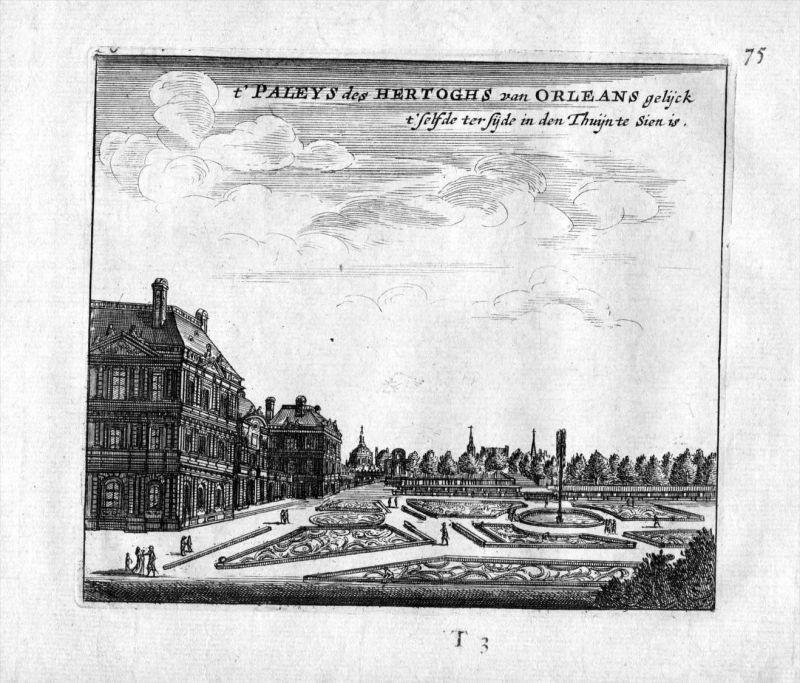 Chateau Herzog Orleans Garten jardin Frankreich France gravure estampe Kupferstich 0