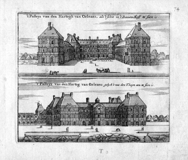 Palais Herzog Orleans Paris Frankreich France gravure estampe Kupferstich