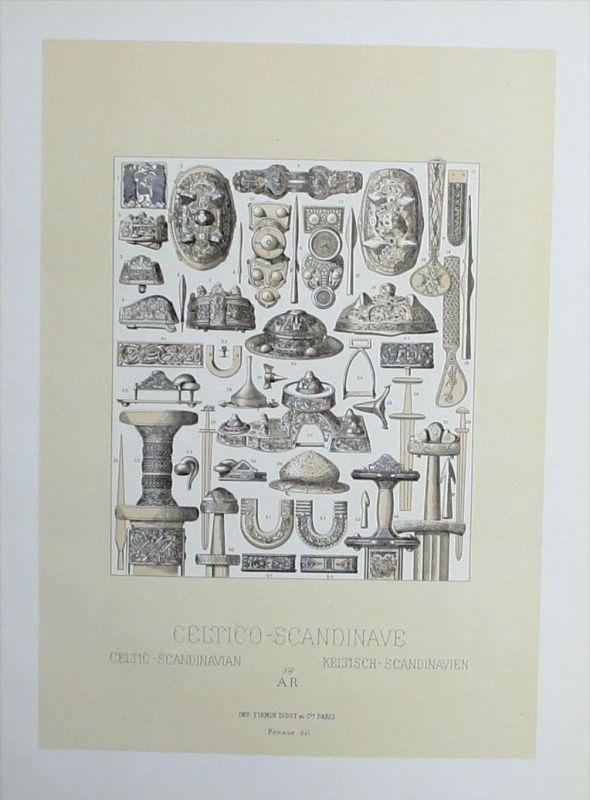 Keltisch Skandinavien Kelten Schmuck Waffen Lithographie lithograph