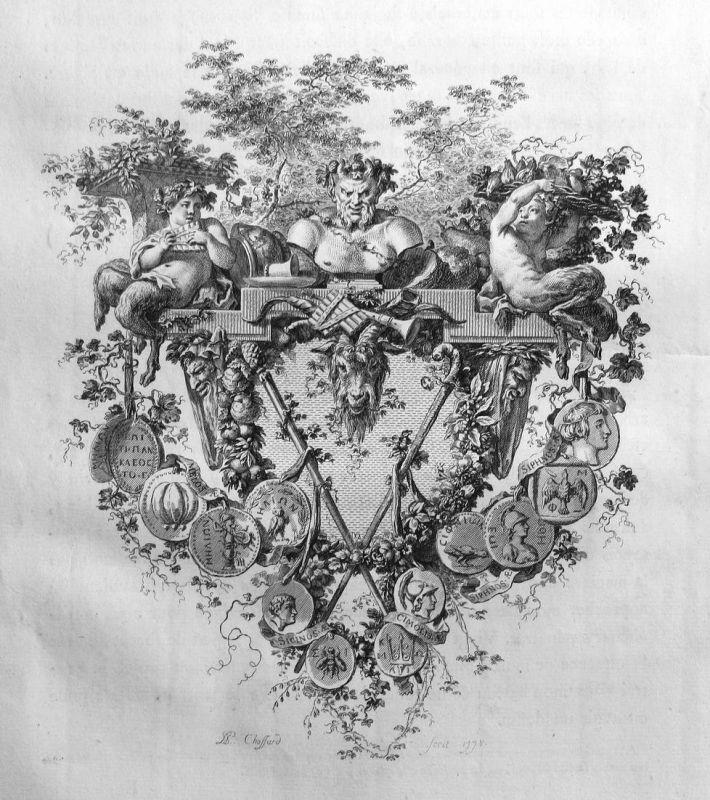 Satyr Medaille medals Statue Kupferstich antique print