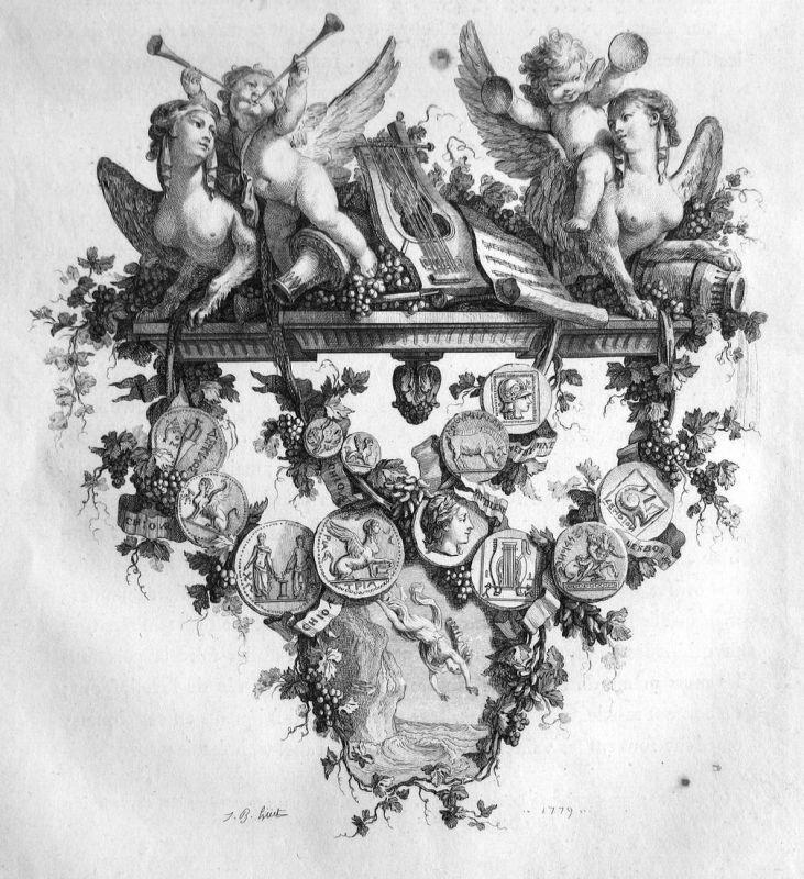 Engel angel Medaille Statue medals Musik music Kupferstich antique print