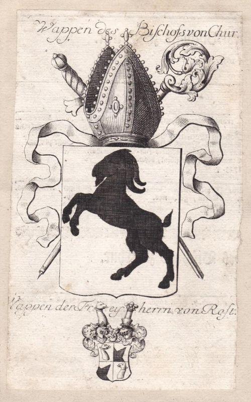 Wappen des Bischöffe von Chur / Wappen der Freyherrn von Rost - Franz Dionys von Rost Chur Schweiz Svizzera Ad