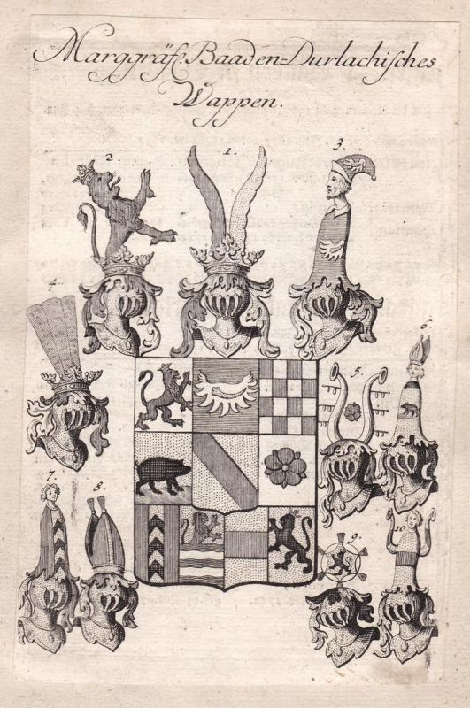 Marggräfl. Baaden Durlachisches Wappen - Karlsruhe Baden-Württemberg Baden-Durlach Adel Wappen coat of arms Ku