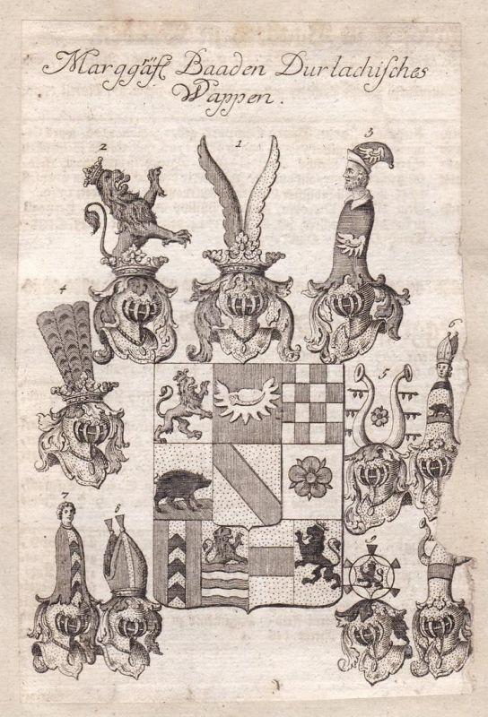 Marggräfl. Baaden Durlachisches Wappen - Baden-Durlach Karlsruhe Baden-Württemberg Adel Wappen coat of arms Ku