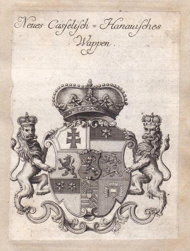 Neues Casselisch-Hanauisches Wappen - Kassel Hanau Hessen Adel Wappen coat of arms Kupferstich antique print