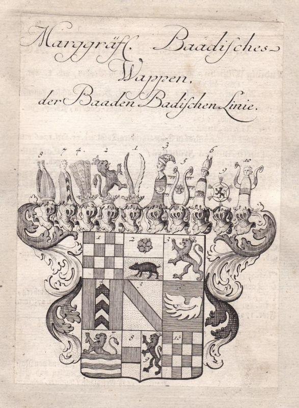 Marggräfl. Baadisches Wappen der Baaden Badischen Linie - Baden-Württemberg Baden-Baden Adel Wappen coat of ar