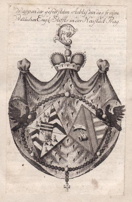 Wappen der gefürsteten Aebtißin des freyen Weltlichen Engl. Stifft in der Neustadt Prag - Prag Prague Praha Cz